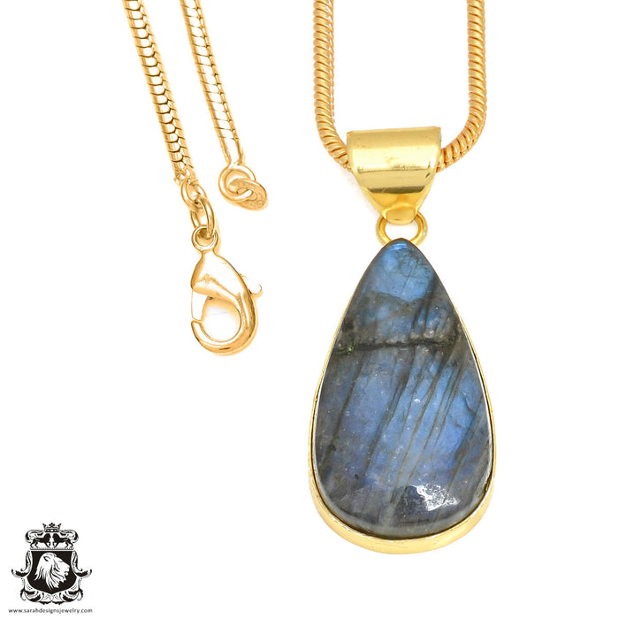 Blue Labradorite 24K Gold Plated Pendant 3mm Snake Chain GPH414