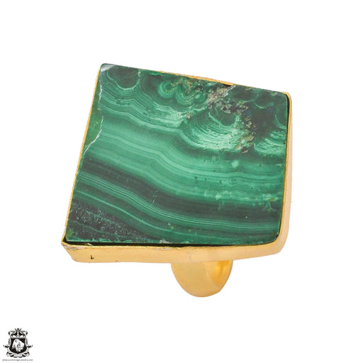 Size 6.5 - Size 8 Adjustable Canadian Malachite Stalactite 24K Gold Plated Ring GPR1322