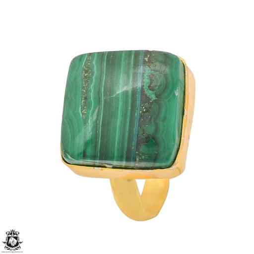 Size 7.5 - Size 9 Adjustable Malachite 24K Gold Plated Ring GPR1330