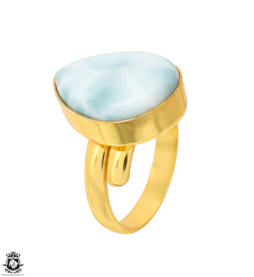 Size 9.5 - Size 11 Adjustable Larimar 24K Gold Plated Ring GPR1616