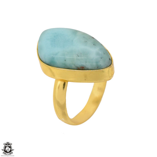 Size 9.5 - Size 11 Adjustable Larimar 24K Gold Plated Ring GPR1619
