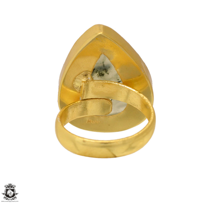 Size 6.5 - Size 8 Adjustable Prehnite 24K Gold Plated Ring GPR1635
