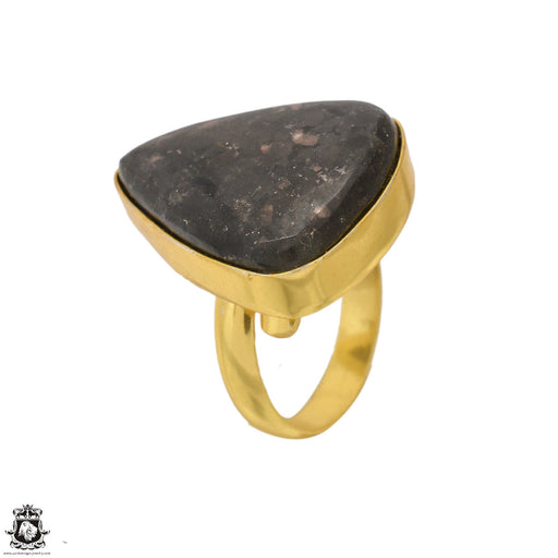 Size 8.5 - Size 10 Adjustable Black Sapphire Obsidian 24K Gold Plated Ring GPR1638