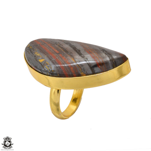 Size 5.5 - Size 7 Adjustable Marra Mamba Tiger's Eye 24K Gold Plated Ring GPR1644