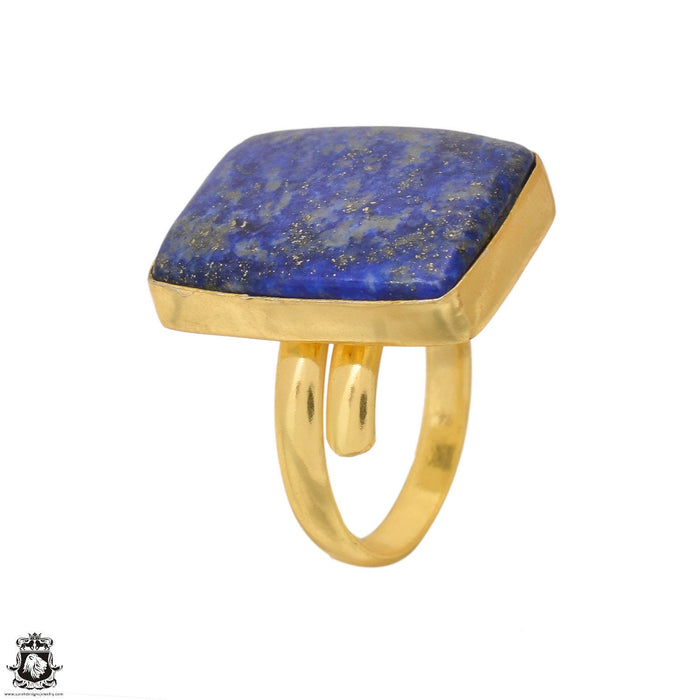 Size 10.5 - Size 12 Adjustable Lapis 24K Gold Plated Ring GPR1651
