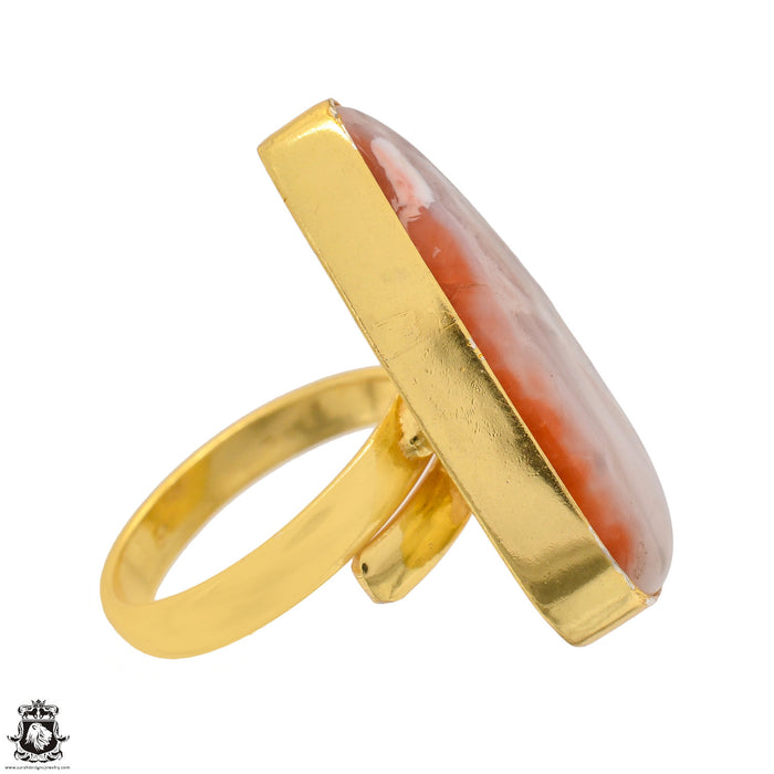 Size 9.5 - Size 11 Adjustable Laguna Lace Agate 24K Gold Plated Ring GPR1349
