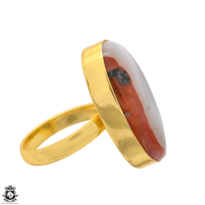 Size 9.5 - Size 11 Adjustable Laguna Lace Agate 24K Gold Plated Ring GPR1351