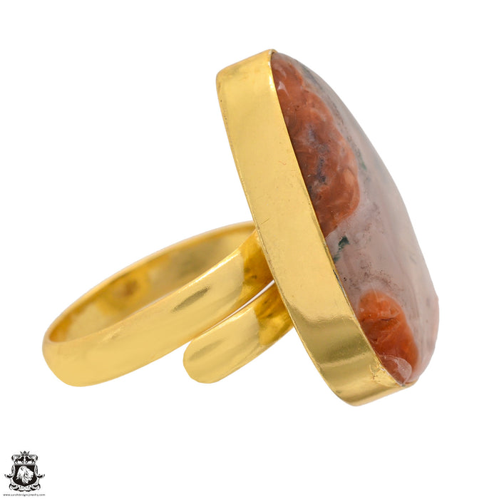 Size 10.5 - Size 12 Adjustable Laguna Lace Agate 24K Gold Plated Ring GPR1355