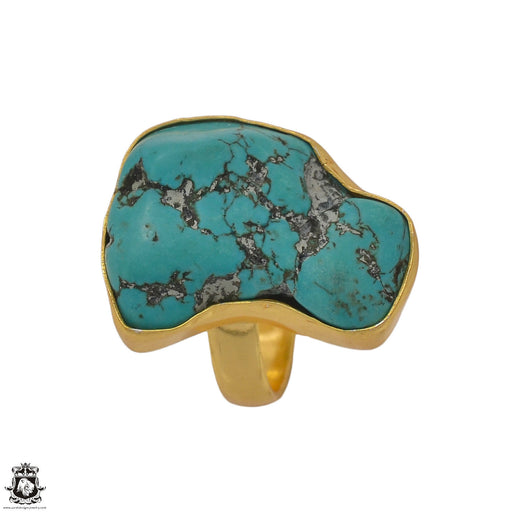 Size 6.5 - Size 8 Adjustable Tibetan Turquoise Nugget 24K Gold Plated Ring GPR1382