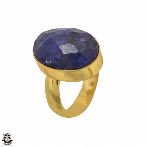 Size 6.5 - Size 8 Adjustable Sapphire 24K Gold Plated Ring GPR1398