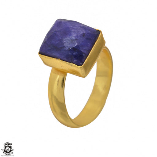 Size 5.5 - Size 7 Adjustable Sapphire 24K Gold Plated Ring GPR1406