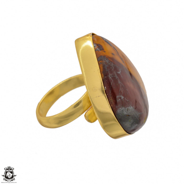 Size 6.5 - Size 8 Adjustable Mookaite 24K Gold Plated Ring GPR1411