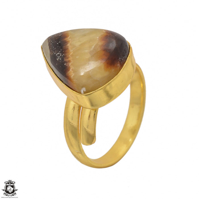 Size 10.5 - Size 12 Adjustable Septarian Dragon Stone 24K Gold Plated Ring GPR1424