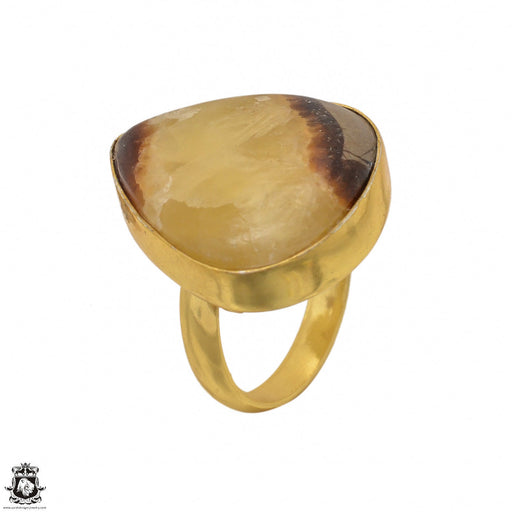 Size 8.5 - Size 10 Adjustable Septarian Dragon Stone 24K Gold Plated Ring GPR1428