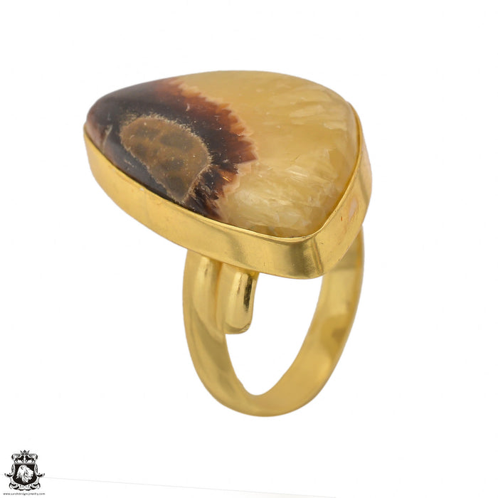Size 10.5 - Size 12 Adjustable Septarian Dragon Stone 24K Gold Plated Ring GPR1430