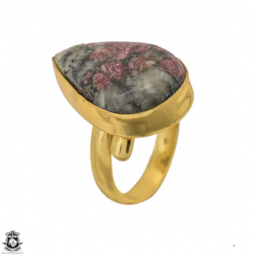 Size 7.5 - Size 9 Adjustable Eudialyte 24K Gold Plated Ring GPR1438