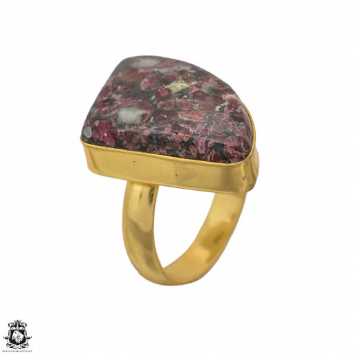 Size 6.5 - Size 8 Adjustable Eudialyte 24K Gold Plated Ring GPR1442