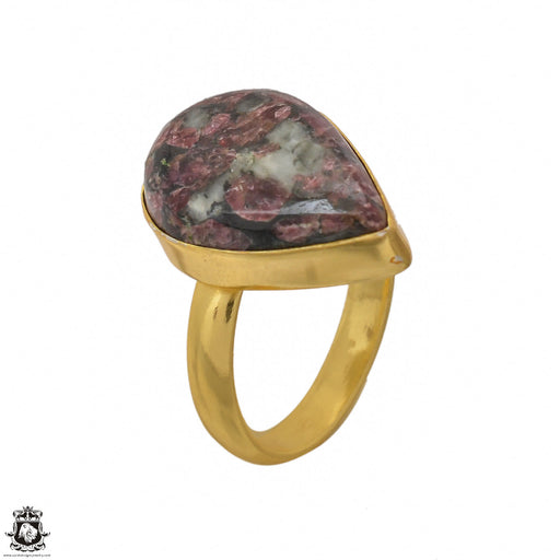 Size 7.5 - Size 9 Adjustable Eudialyte 24K Gold Plated Ring GPR1446