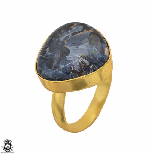 Size 9.5 - Size 11 Adjustable Pietersite 24K Gold Plated Ring GPR1447