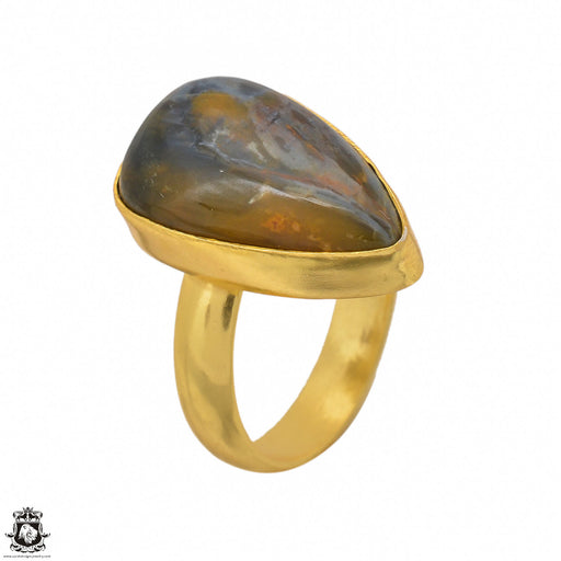 Size 8.5 - Size 10 Adjustable Pietersite 24K Gold Plated Ring GPR1450
