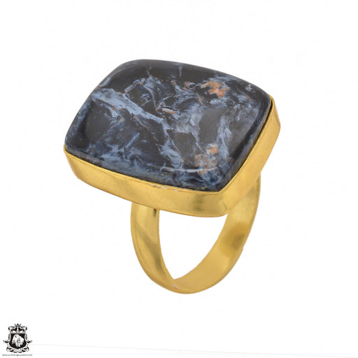 Size 9.5 - Size 11 Adjustable Pietersite 24K Gold Plated Ring GPR1455