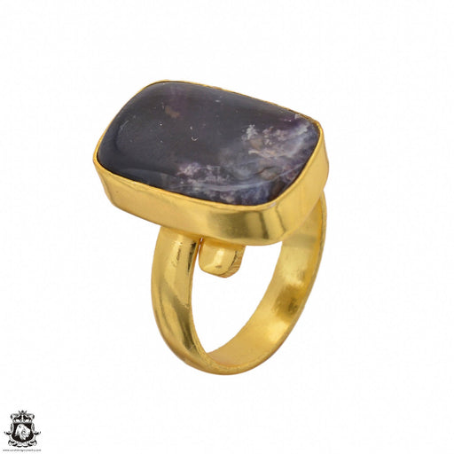 Size 6.5 - Size 8 Adjustable Pietersite 24K Gold Plated Ring GPR1457