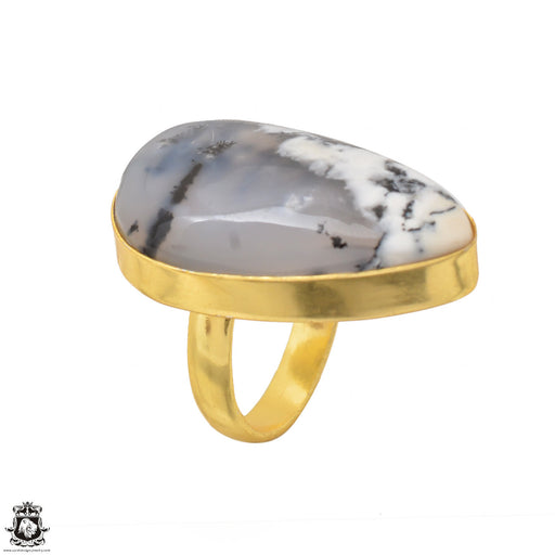 Size 6.5 - Size 8 Adjustable Dendritic Opal Merlinite 24K Gold Plated Ring GPR1479