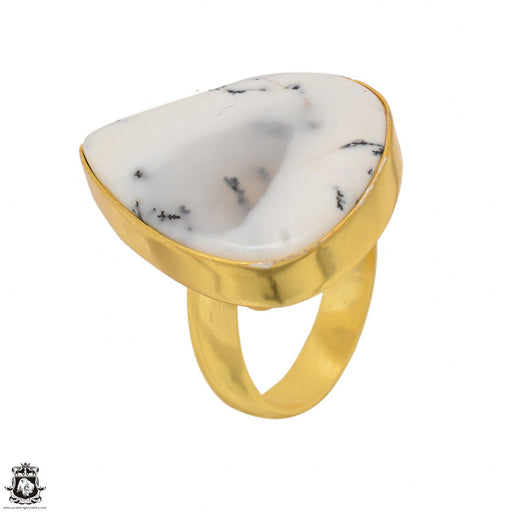 Size 8.5 - Size 10 Adjustable Dendritic Opal Merlinite 24K Gold Plated Ring GPR1488