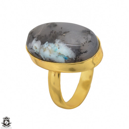 Size 8.5 - Size 10 Adjustable Dendritic Opal Merlinite 24K Gold Plated Ring GPR1490