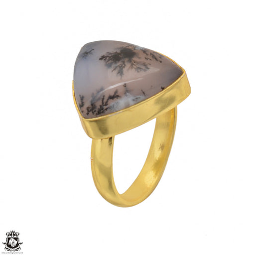 Size 6.5 - Size 8 Adjustable Dendritic Opal Merlinite 24K Gold Plated Ring GPR1492