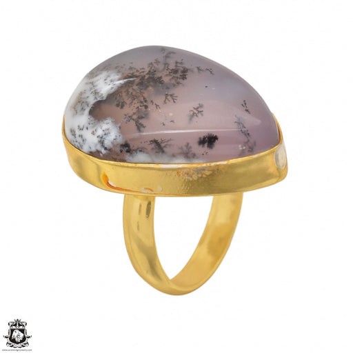 Size 6.5 - Size 8 Adjustable Dendritic Opal Merlinite 24K Gold Plated Ring GPR1496