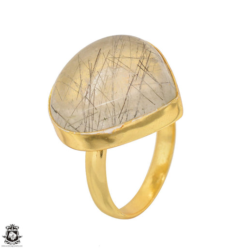Size 9.5 - Size 11 Adjustable Tourmalated Quartz 24K Gold Plated Ring GPR1497