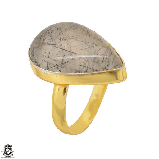 Size 9.5 - Size 11 Adjustable Tourmalated Quartz 24K Gold Plated Ring GPR1500