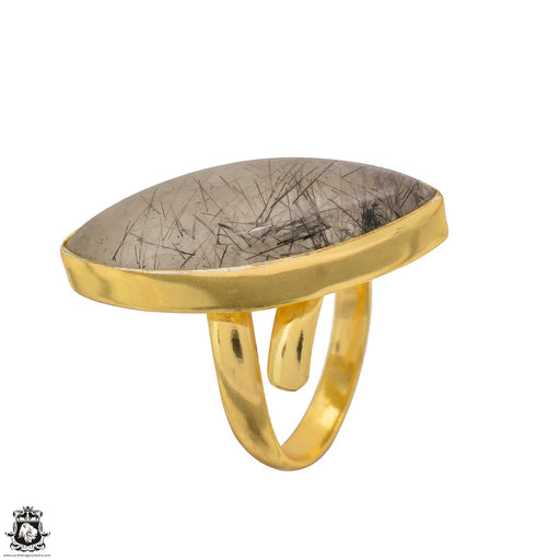 Size 9.5 - Size 11 Adjustable Tourmalated Quartz 24K Gold Plated Ring GPR1510