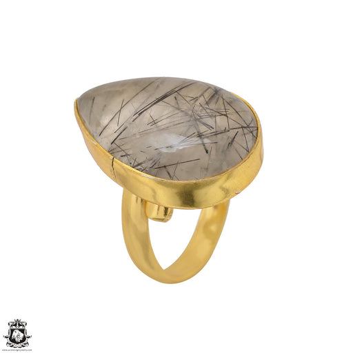 Size 8.5 - Size 10 Adjustable Tourmalated Quartz 24K Gold Plated Ring GPR1512