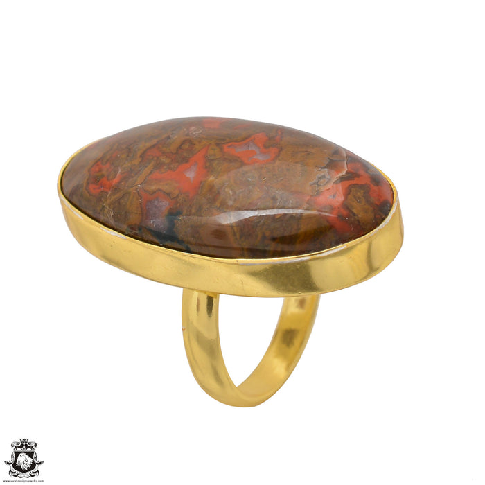 Size 6.5 - Size 8 Adjustable Seam Agate 24K Gold Plated Ring GPR1544