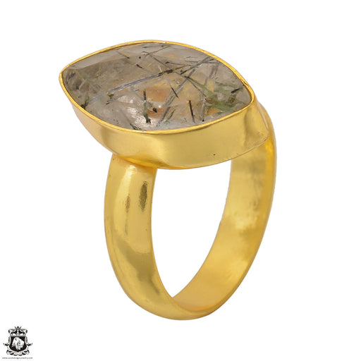 Size 8.5 - Size 10 Adjustable Tourmalated Quartz 24K Gold Plated Ring GPR1551