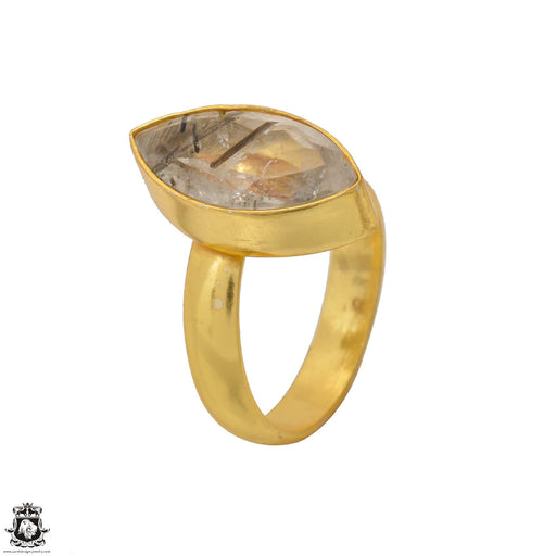 Size 8.5 - Size 10 Adjustable Tourmalated Quartz 24K Gold Plated Ring GPR1553