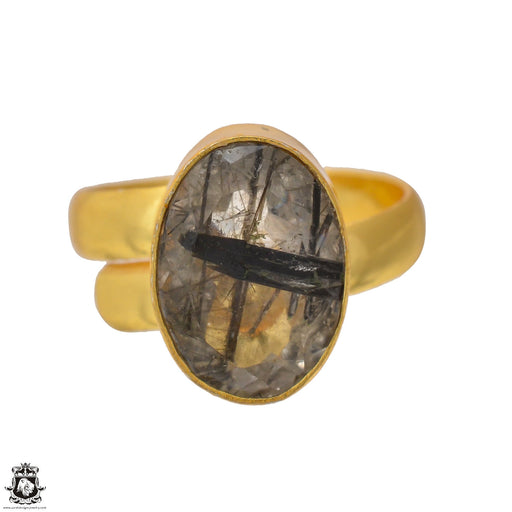 Size 7.5 - Size 9 Adjustable Tourmalated Quartz 24K Gold Plated Ring GPR1554