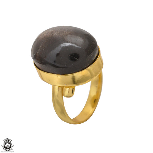 Size 6.5 - Size 8 Adjustable Umba Sapphire Obsidian 24K Gold Plated Ring GPR1558