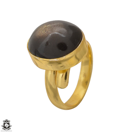 Size 7.5 - Size 9 Adjustable Umba Sapphire Obsidian 24K Gold Plated Ring GPR1562