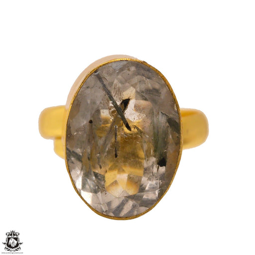 Size 8.5 - Size 10 Adjustable Tourmalated Quartz 24K Gold Plated Ring GPR1691
