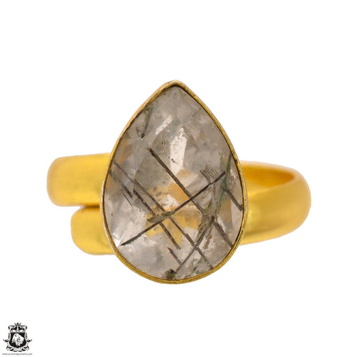 Size 8.5 - Size 10 Adjustable Tourmalated Quartz 24K Gold Plated Ring GPR1692