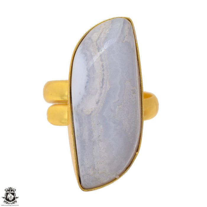 Size 9.5 - Size 11 Adjustable Blue Lace Agate 24K Gold Plated Ring GPR1699
