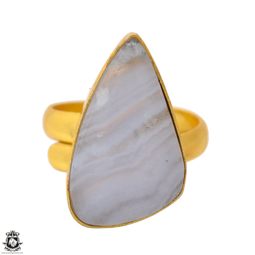 Size 9.5 - Size 11 Adjustable Blue Lace Agate 24K Gold Plated Ring GPR1701