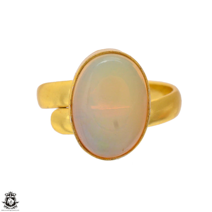 Size 6.5 - Size 8 Adjustable Ethiopian Opal 24K Gold Plated Ring GPR1704