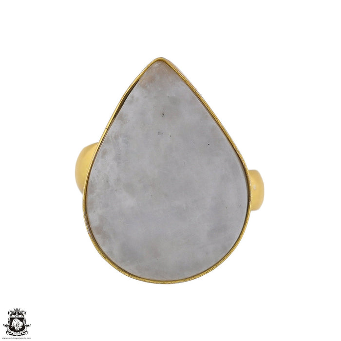 Size 6.5 - Size 8 Adjustable Moonstone 24K Gold Plated Ring GPR1756