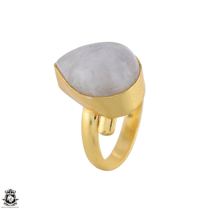 Size 6.5 - Size 8 Adjustable Moonstone 24K Gold Plated Ring GPR1757