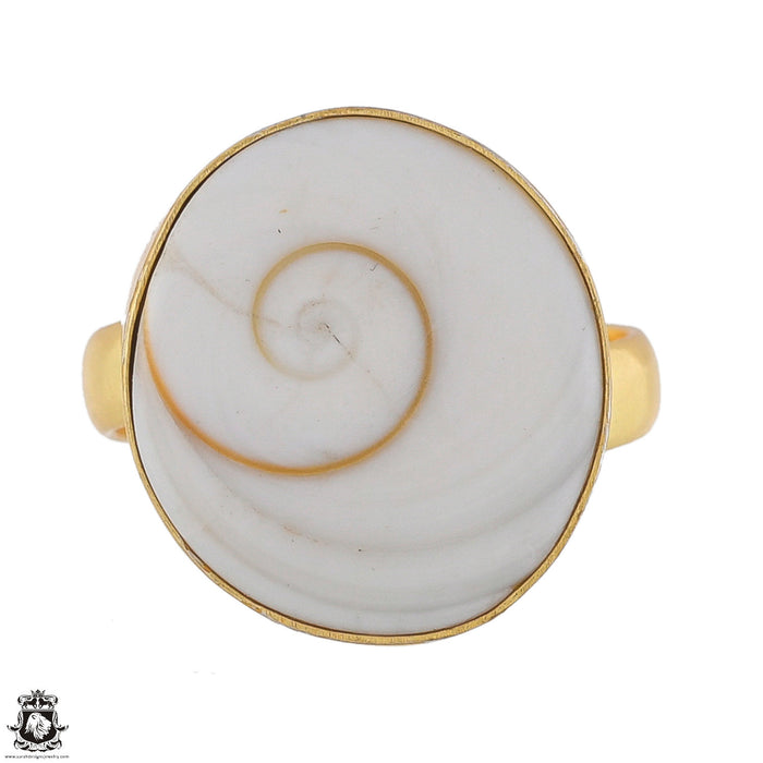 Size 7 - Size 10 Adjustable Shiva Shell 24K Gold Plated Ring GPR1780