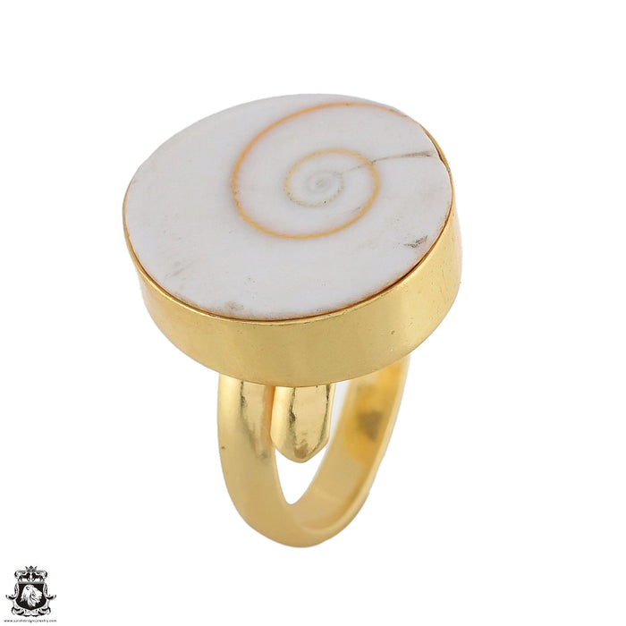 Size 7 - Size 10 Adjustable Shiva Shell 24K Gold Plated Ring GPR1784